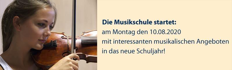 Ankündigung: Die Musikschule startet 10.08.2020